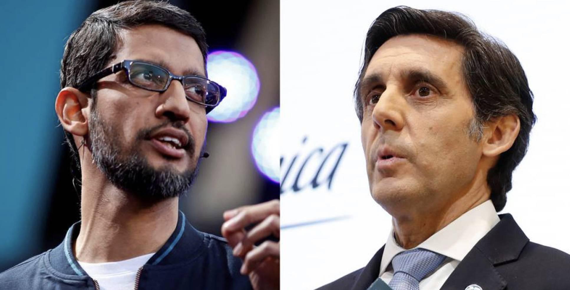 Sundar Pichai, consejero delegado de Google y Alphabet, y José María Álvarez-Pallete, presidente ejecutivo de Telefónica.REUTERS/P. MONGE